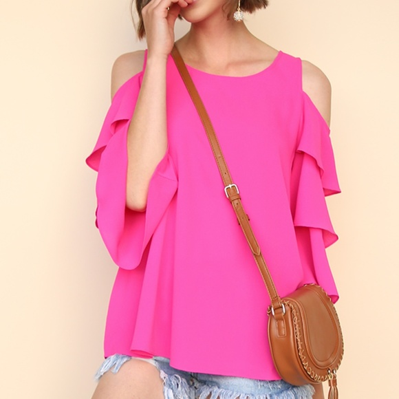 9cdc12d22468ca Umgee Ruffle Sleeve Open Shoulder Hot Pink